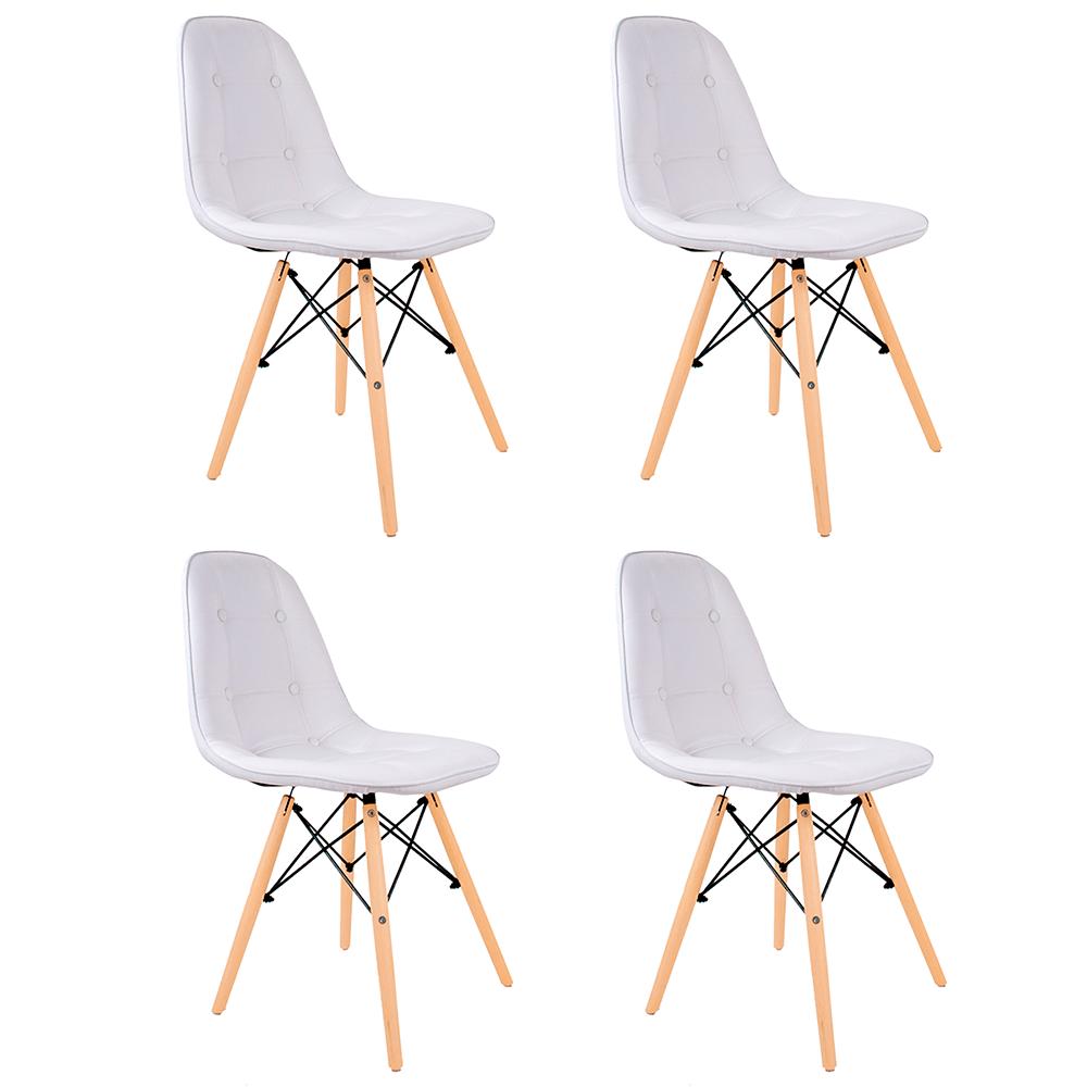 Conjunto com 4 Cadeiras Eames Botonê Branca - Base Madeira Natural