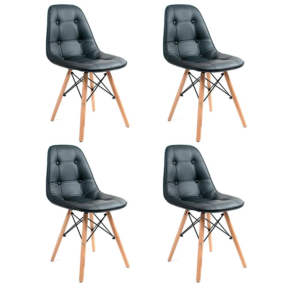 Conjunto com 4 Cadeiras Eames Botonê Preta - Base Madeira Natural