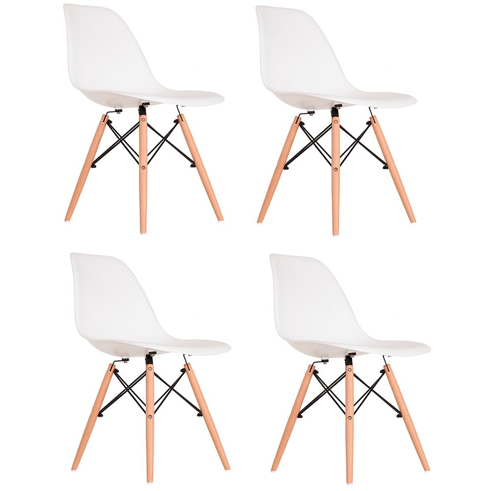 Conjunto com 4 Cadeiras Eames Branca - Base Madeira Natural