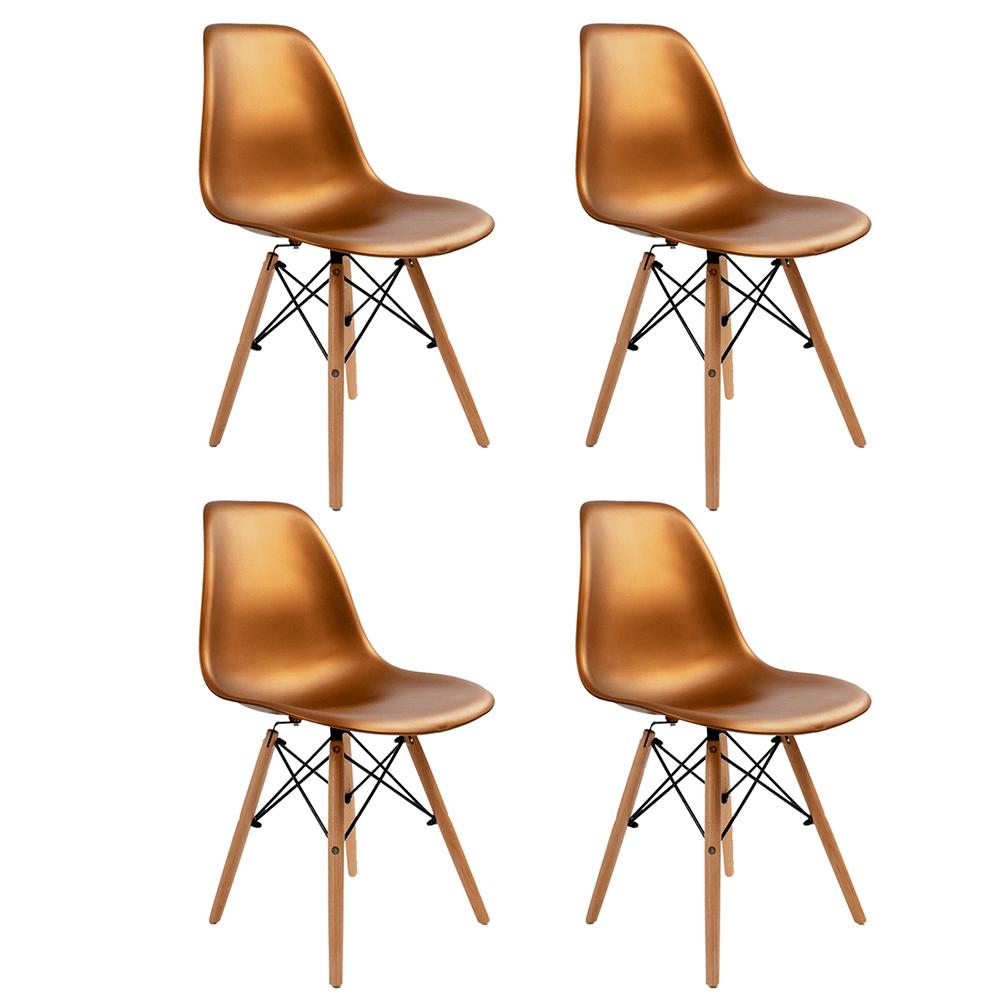 Conjunto com 4 Cadeiras Eames Bronze - Base Madeira Natural