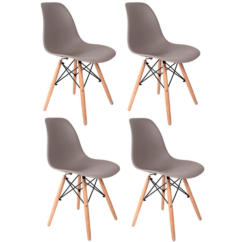 Conjunto com 4 Cadeiras Eames Cinza - Base Madeira Natural