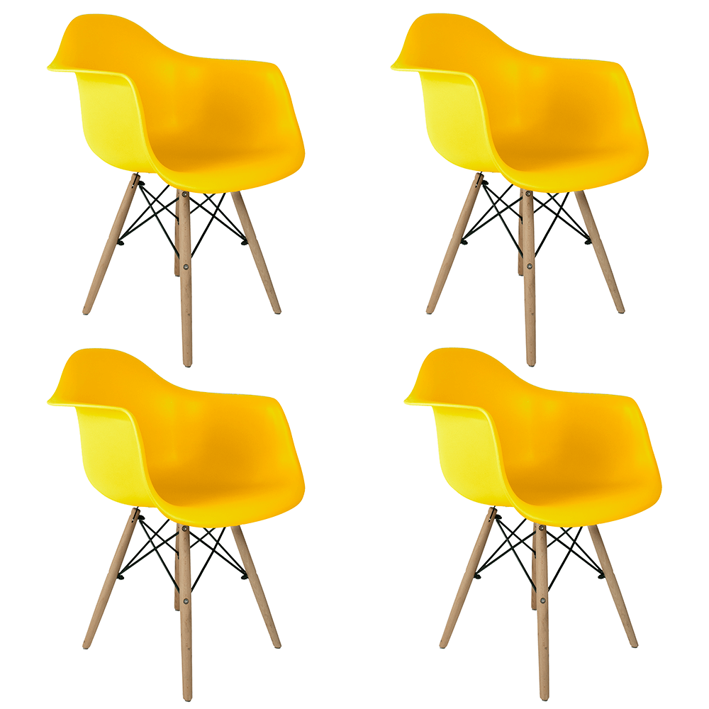 Conjunto com 4 Cadeiras Eames com Braços Amarela - Base Madeira Natural