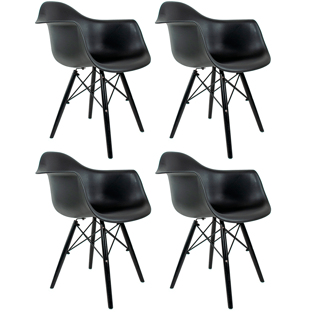 Conjunto com 4 Cadeiras Eames com Braços Black Edition - Base Preta