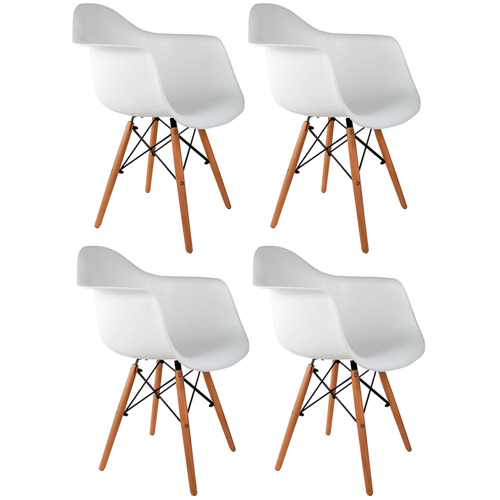 Conjunto com 4 Cadeiras Eames com Braços Branca - Base Madeira Natural