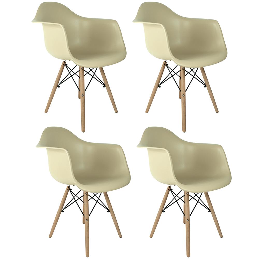 Conjunto com 4 Cadeiras Eames com Braços Fendi - Base Madeira Natural