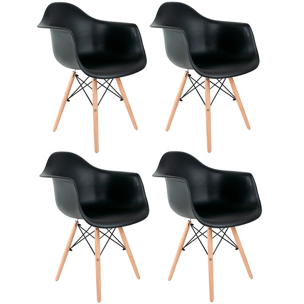 Conjunto com 4 Cadeiras Eames com Braços Preta - Base Madeira Natural