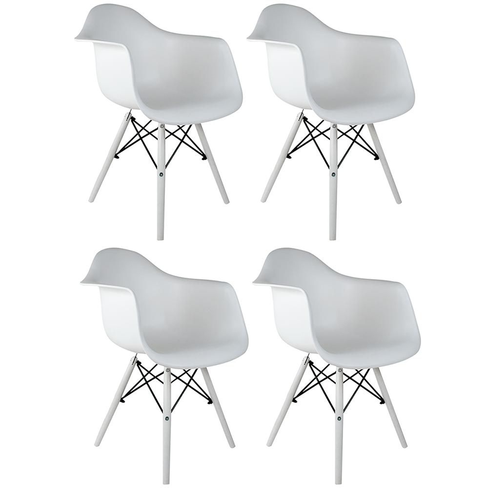 Conjunto com 4 Cadeiras Eames com Braços White Edition - Base Branca