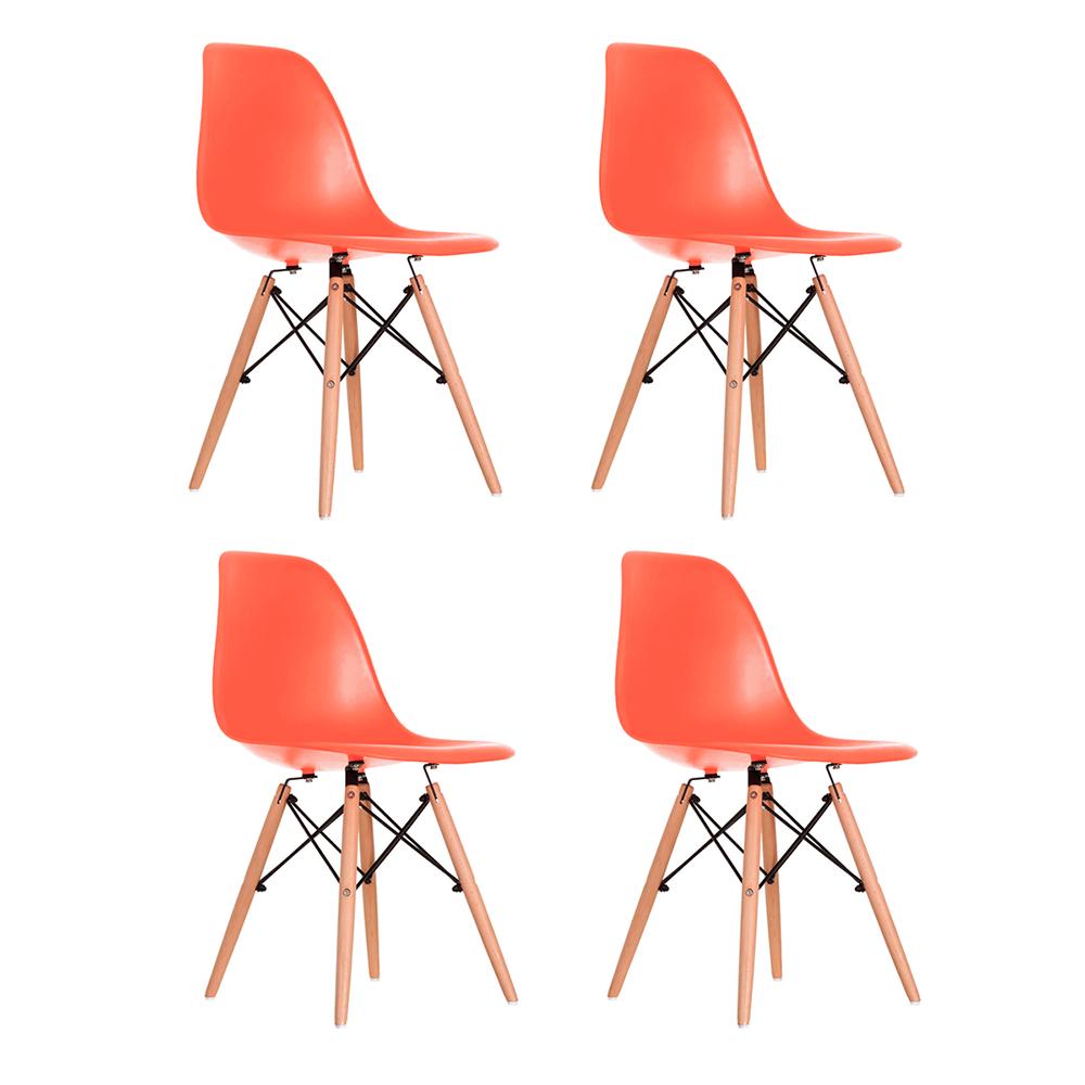 Conjunto com 4 Cadeiras Eames Coral - Base Madeira Natural