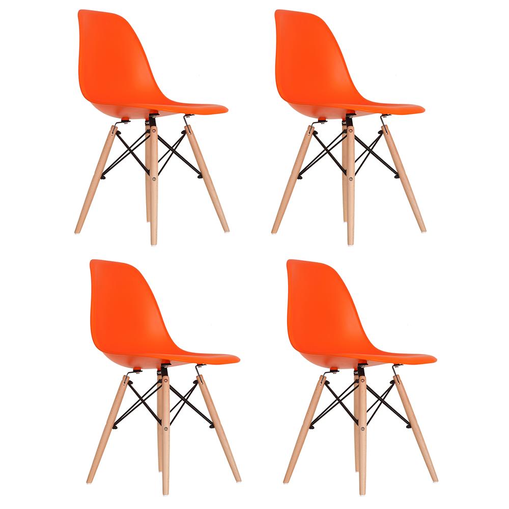 Conjunto com 4 Cadeiras Eames Laranja - Base Madeira Natural