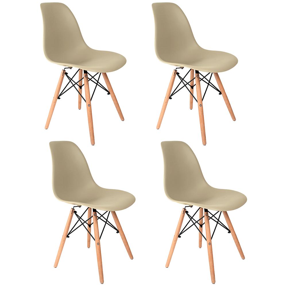 Conjunto com 4 Cadeiras Eames Fendi - Base Madeira Natural