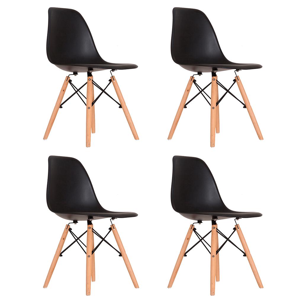 Conjunto com 4 Cadeiras Eames Preta - Base Madeira Natural