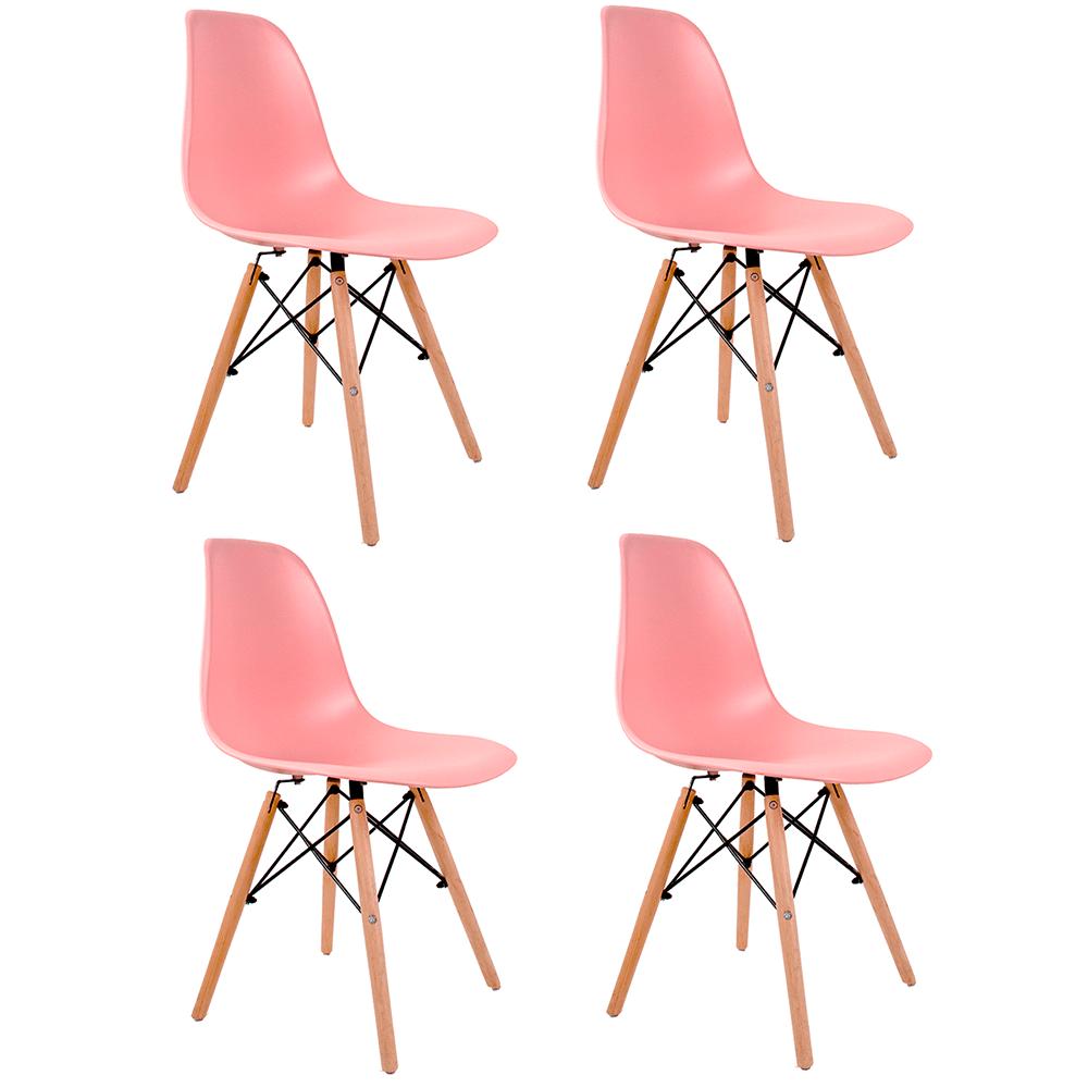 Conjunto com 4 Cadeiras Eames Rosa - Base Madeira Natural