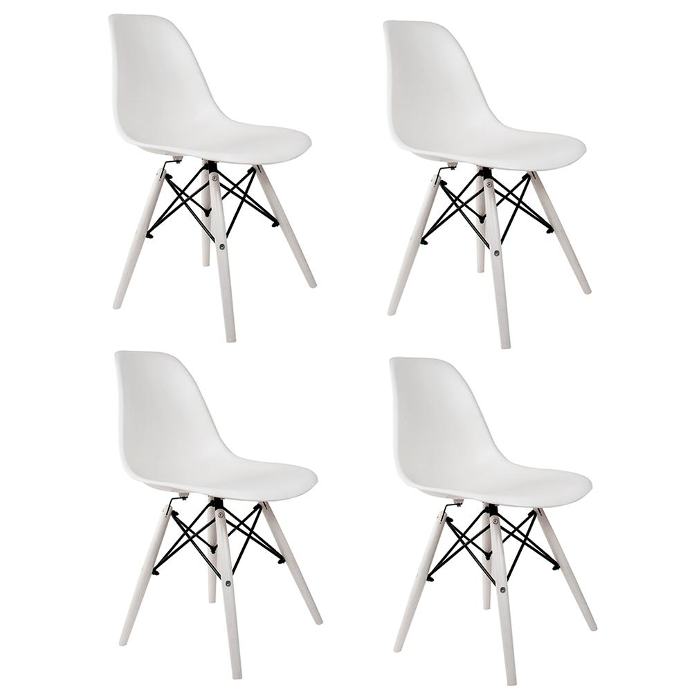 Conjunto com 4 Cadeiras Eames White Edition - Base Branca Polipropileno