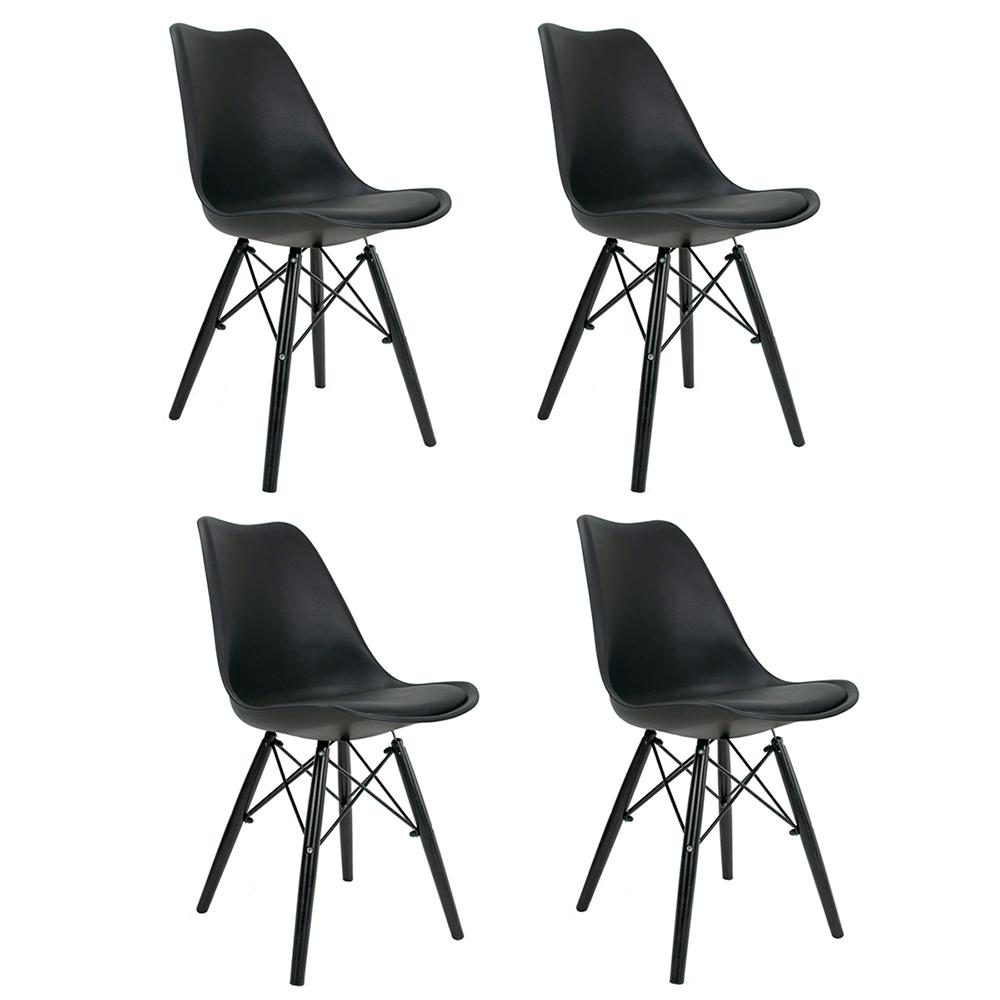 Conjunto com 4 Cadeiras Saarinen Black Edition - Base Preta Polipropileno