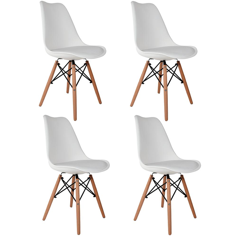 Conjunto com 4 Cadeiras Saarinen Branca - Base Madeira Natural