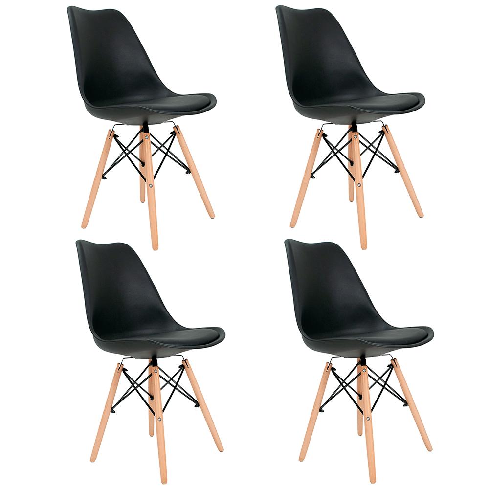 Conjunto com 4 Cadeiras Saarinen Preta - Base Madeira Natural