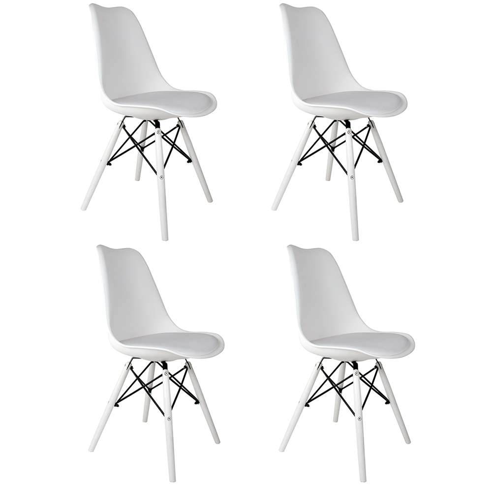 Conjunto com 4 Cadeiras Saarinen White Edition - Base Branca Polipropileno