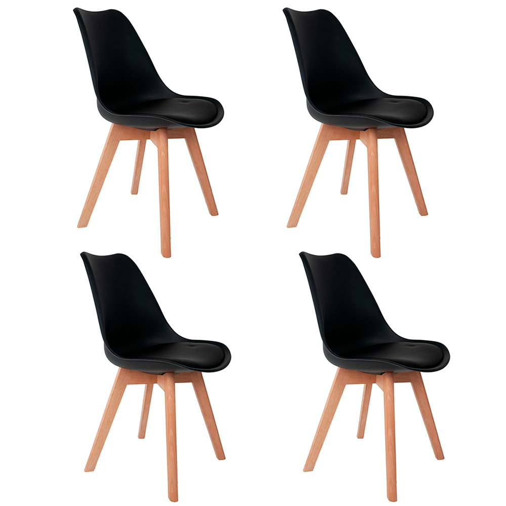 Conjunto com 4 Cadeiras Saarinen Preta - Base Wood