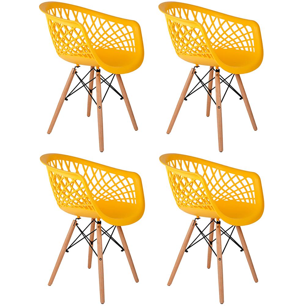 Conjunto com 4 Cadeiras Web Amarela - Base Madeira Natural