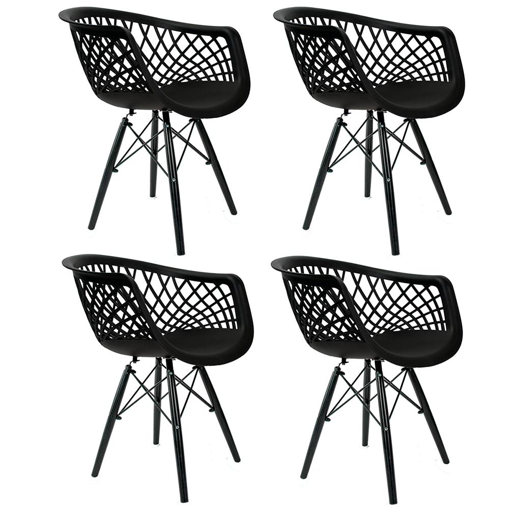 Conjunto com 4 Cadeiras Web Black Edition - Base Preta Polipropileno