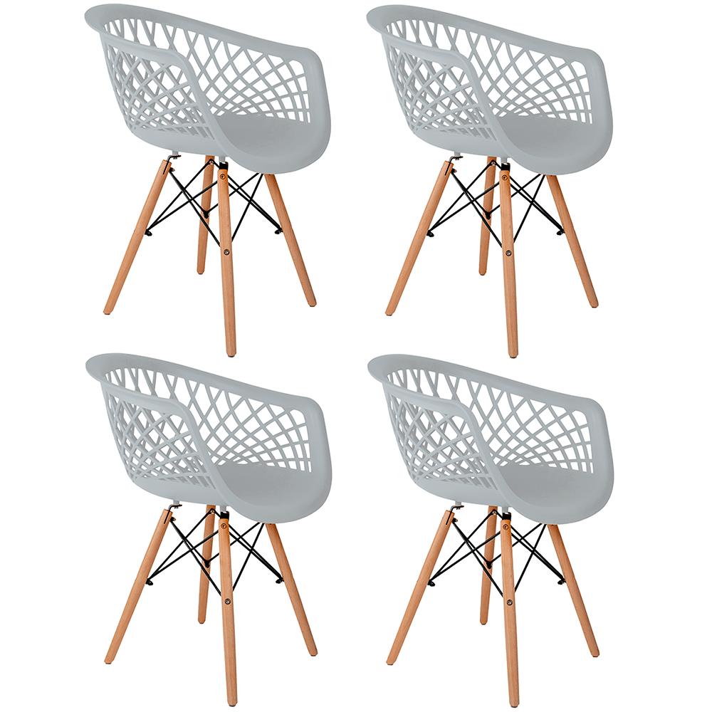 Conjunto com 4 Cadeiras Web Branca - Base Madeira Natural