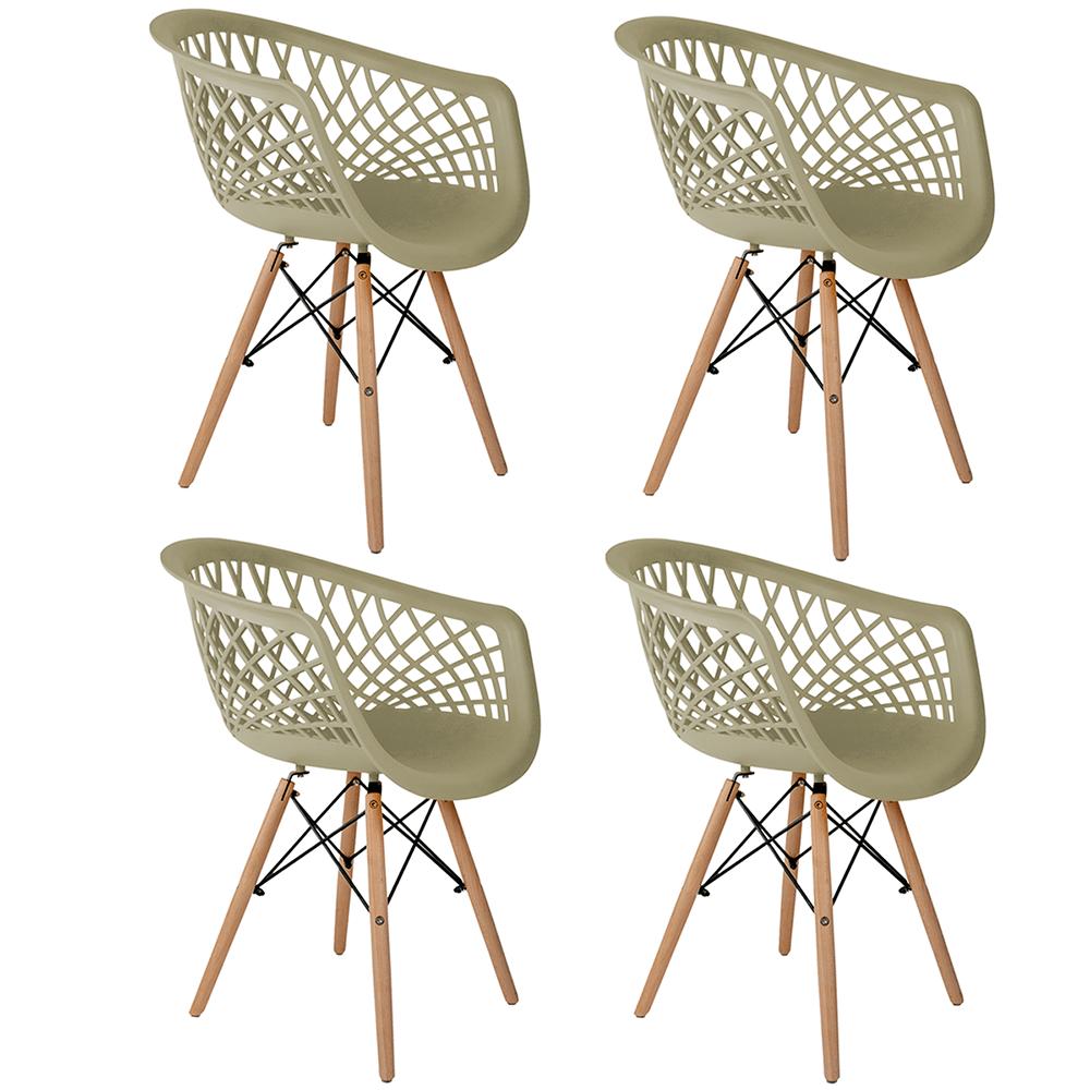 Conjunto com 4 Cadeiras Web Fendi - Base Madeira Natural