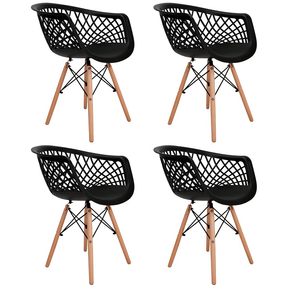 Conjunto com 4 Cadeiras Web Preta - Base Madeira Natural