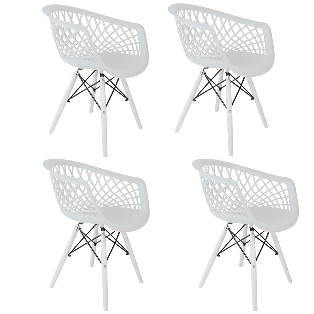 Conjunto com 4 Cadeiras Web White Edition - Base Branca