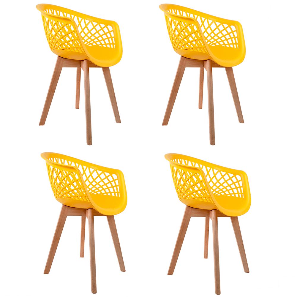 Conjunto com 4 Cadeiras Web Amarela - Base Wood