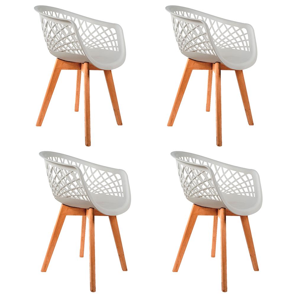 Conjunto com 4 Cadeiras Web Branca - Base Wood