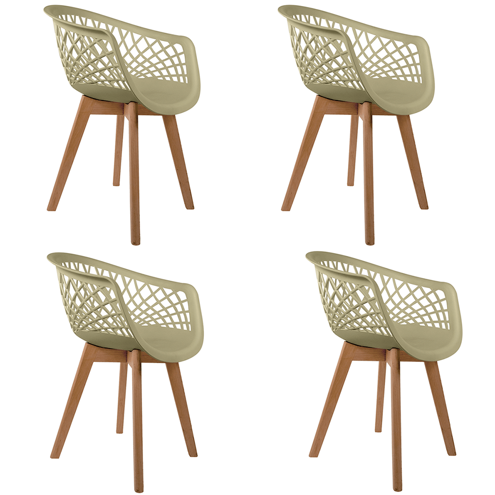Conjunto com 4 Cadeiras Web Fendi - Base Wood