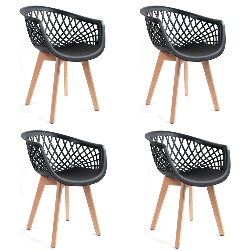 Conjunto com 4 Cadeiras Web Preta - Base Wood