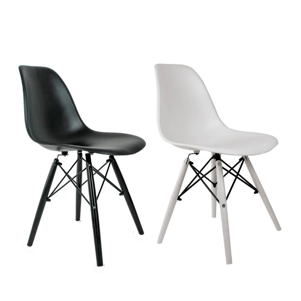 Conjunto com 2 Cadeiras Eames Branca e Preta - Base Black & White Edition Polipropileno