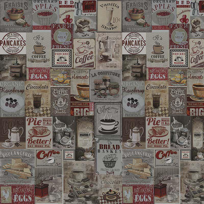 Papel de Parede Vintage Breakfast  - TaColado