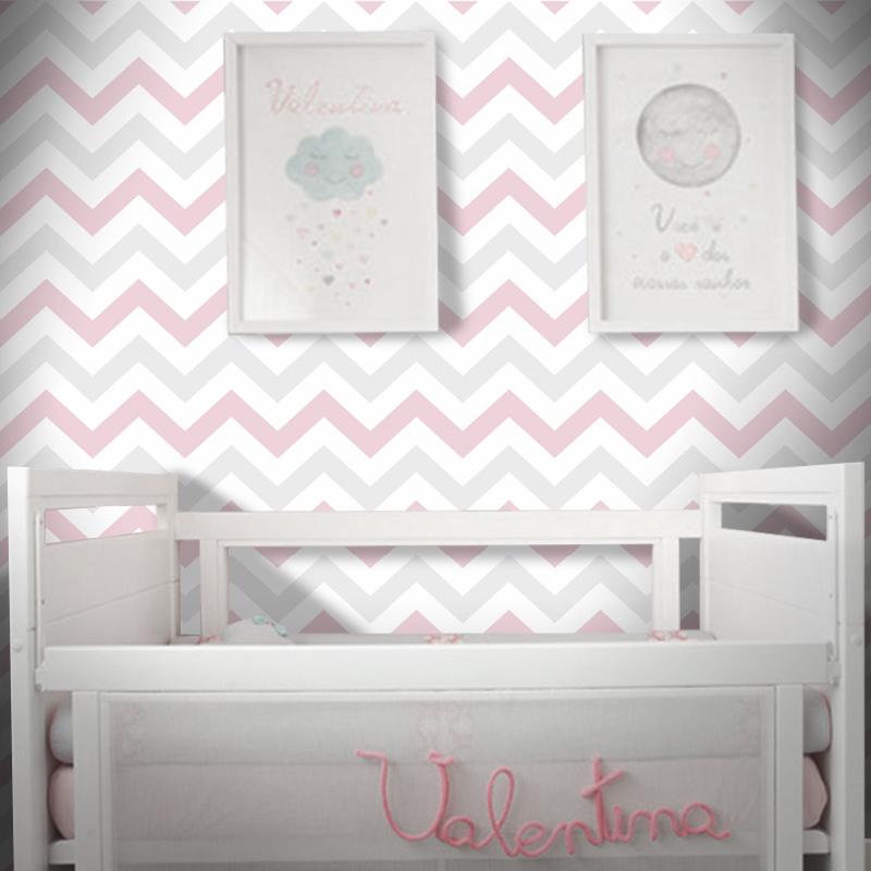 Papel de parede quarto de beb chevron rosa e cinza claro for Papel de pared rustico