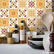 Adesivo Destacável Azulejo para Cozinha Badalona Laranja