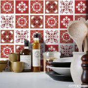 Adesivo Destacável Azulejo para Cozinha Badalona Vermelho
