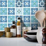 Adesivo Destacável Azulejo para Cozinha Berga Azul