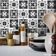 Adesivo Destacável Azulejo para Cozinha Berga Preto e Branco