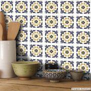 Adesivo Destacável Azulejo para Cozinha Braga Azul Escuro