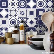 Adesivo Destacável Azulejo para Cozinha Bragança Azul Marinho