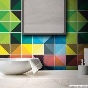 Adesivo Destacável Azulejo para Cozinha Triângulo Prisma
