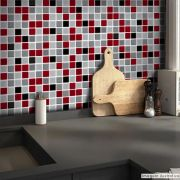 Adesivo Destacável Pastilha para Cozinha 3D Mix Vermelho
