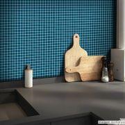 Adesivo Destacável Pastilha para Cozinha Clássica Azul