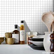 Adesivo Destacável Pastilha para Cozinha Clássica Branco