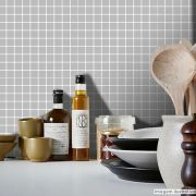 Adesivo Destacável Pastilha para Cozinha Clássica Cinza Claro
