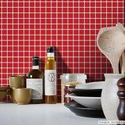 Adesivo Destacável Pastilha para Cozinha Clássica Vermelho