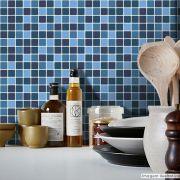 Adesivo Destacável Pastilha para Cozinha Mix Azul