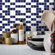 Adesivo Destacável Pastilha para Cozinha Mix Branco e Azul Marinho