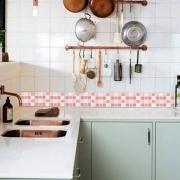 Adesivo Destacável Pastilha para Cozinha Mix Rosa